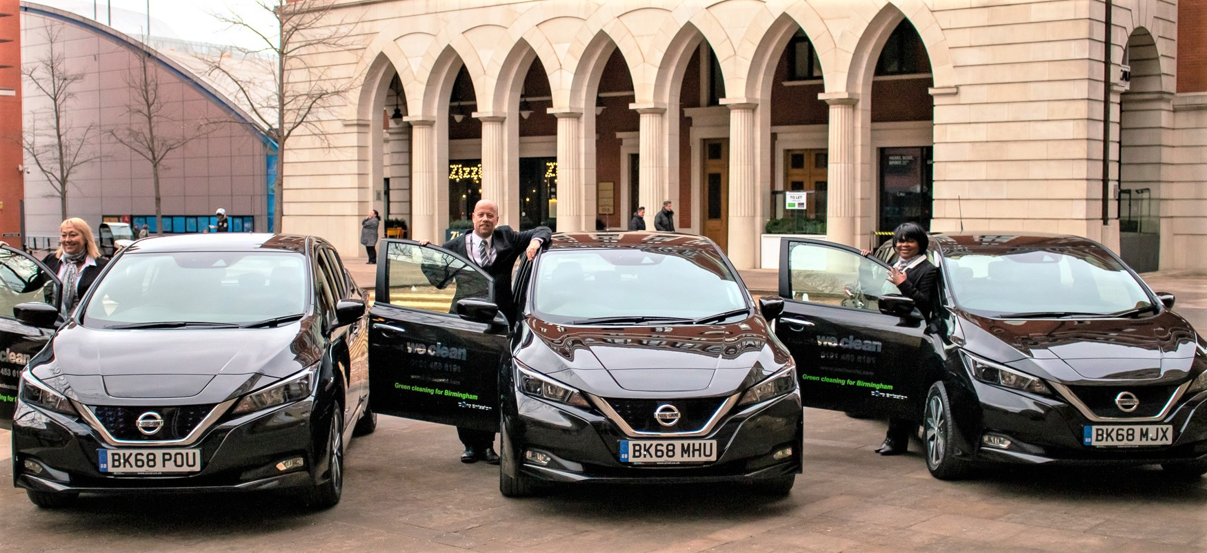 Managers-with-three-Nissan-Leaf-at-Brindleyplace Cleaning Green - Birmingham Cleaning Company Goes Electric