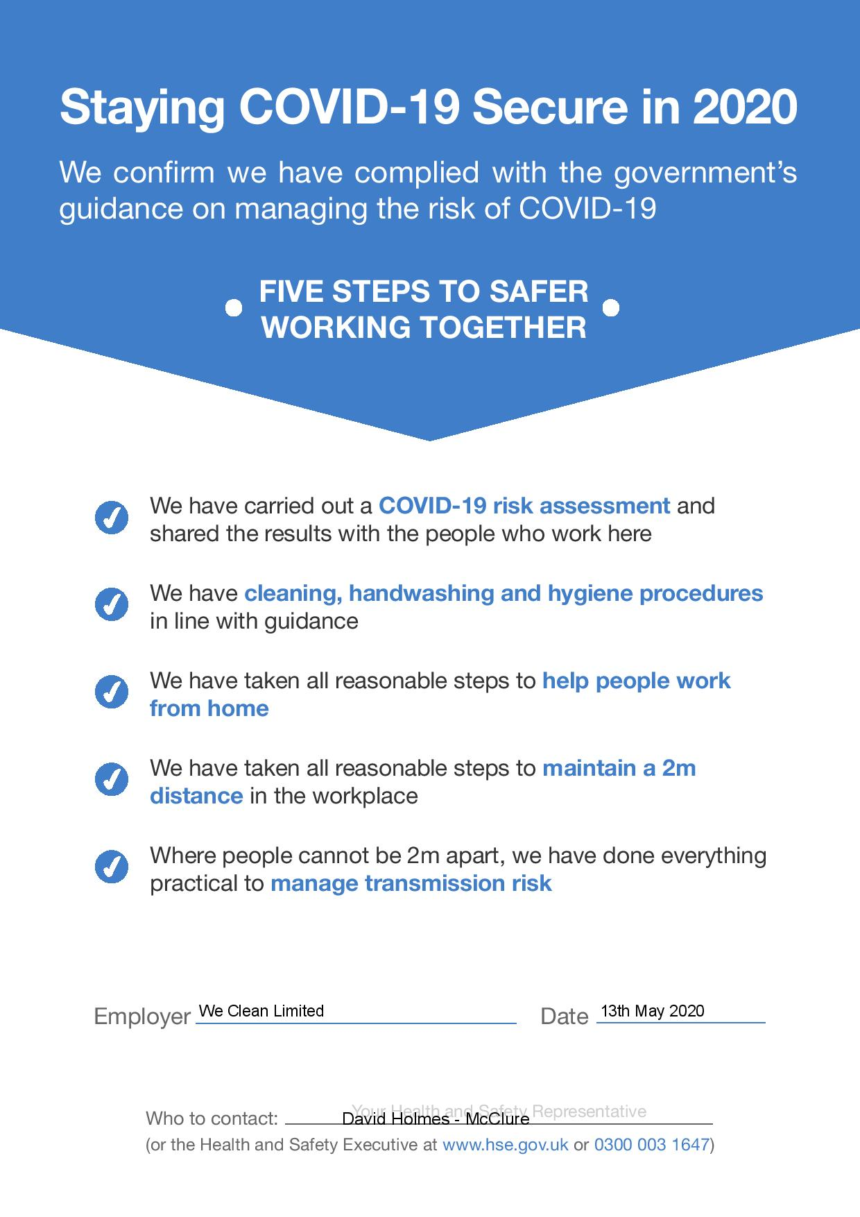 staying-covid-19-secure-page-001 We Clean Ltd are Covid-19 Secure!